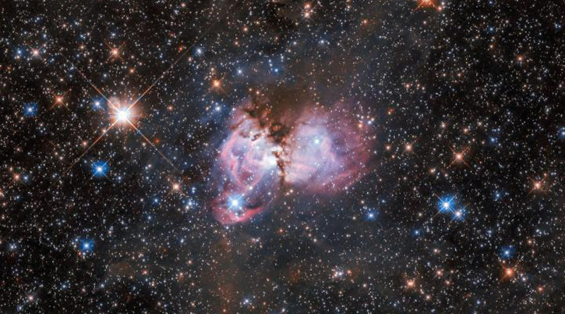 This image shows a region of space called LHA 120-N150. It is a substructure of the gigantic Tarantula Nebula. The latter is the largest known stellar nursery in the local Universe. The nebula is situated more than 160 000 light-years away in the Large Magellanic Cloud, a neighbouring dwarf irregular galaxy that orbits the Milky Way. CREDIT ESA/Hubble, NASA, I. Stephens