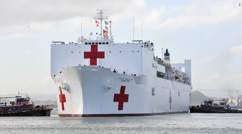 File photo of the Military Sealift Command hospital ship USNS Comfort. US Air Force photo.