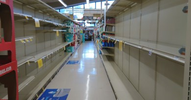 Empty shelves at a San Francisco grocery store after panic buying during Coronavirus pandemic. Photo Credit: Pkwzimm, Wikipedia Commons