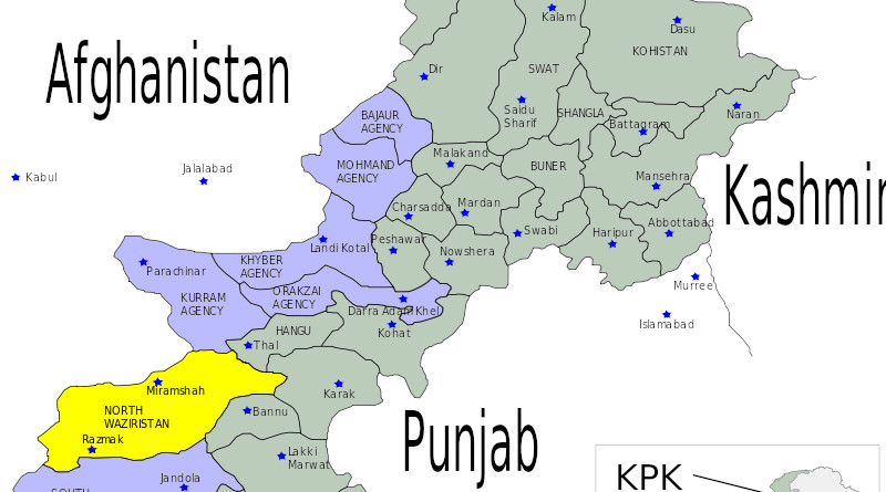 District of North Waziristan (in yellow) in Bannu Division of Khyber Pakhtunkhwa province in Pakistan. Credit: Wikipedia Commons