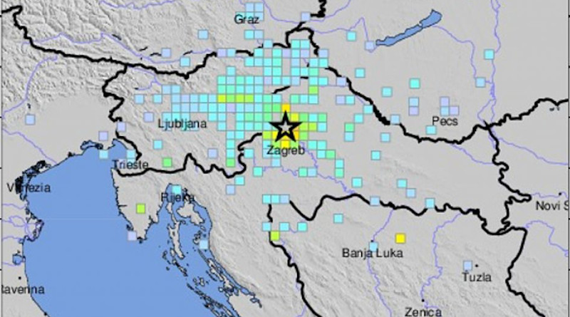 Detail of USGS Community Internet Intensity Map for Zagreb, Croatia earthquake. Credit: USGS