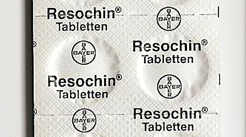 "Chloroquine was discovered in 1934 by Hans Andersag and coworkers at the Bayer laboratories, who named it ""Resochin"". Photo Credit: Resochin tablet package, Bayer, Wikimedia Commons."