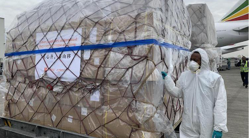 Staff members unload the medical supplies from China at the airport in Addis Ababa, Ethiopia, March 22, 2020. Credit: Xinhua