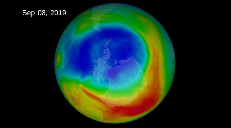 The 2019 ozone hole reached a peak extent of 6.3 million square miles on September 8, 2019, the lowest maximum observed in decades. This NASA visualization depicts ozone concentrations in Dobson Units, the standard measure for stratospheric ozone. CREDIT NASA