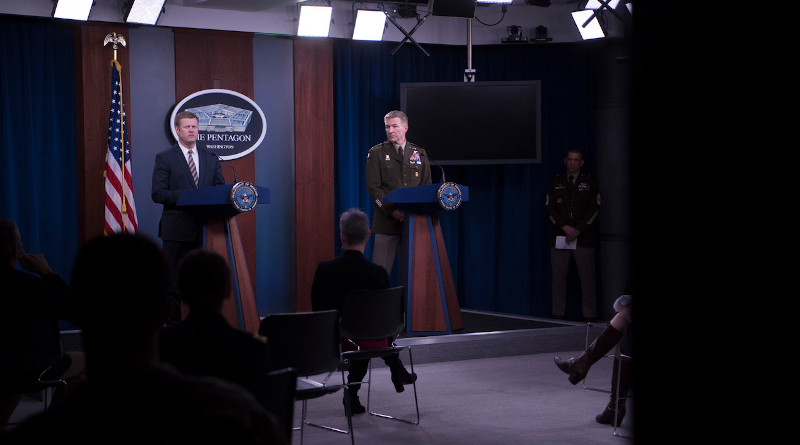 Army Secretary Ryan D. McCarthy and Army Chief of Staff Gen. James C. McConville brief reporters on the service's coronavirus response efforts at the Pentagon, March 26, 2020. Photo Credit: Lisa Ferdinando, DOD