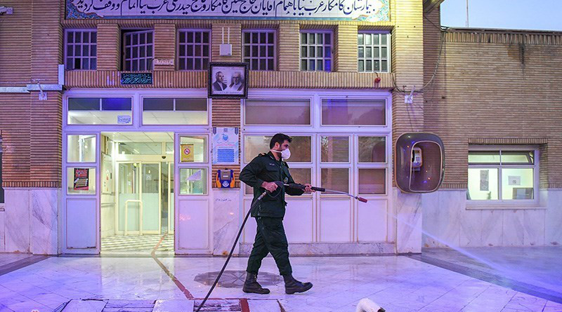 Disinfecting to prevent coronavirus in Iran. Photo Credit: Tasnim News Agency