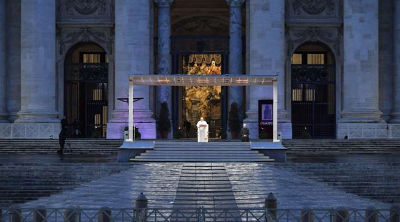 Pope Francis gives an extraordianary Urbi et Orbi blessing in St. Peter's Square, March 27, 2020. Credit: Vatican Media.