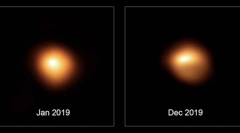 Observations of the star Betelgeuse taken by the ESO's Very Large Telescope in January and December 2019, which show the star's substantial dimming. CREDIT ESO/M. Montargès et al.