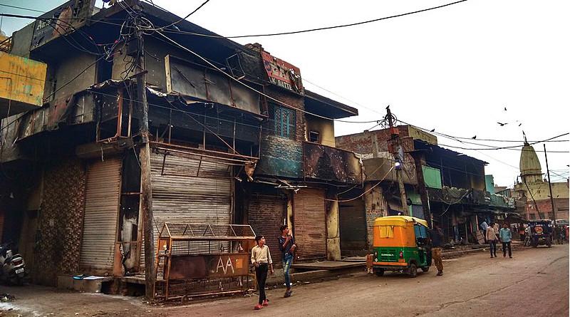 Burnt shops at Shiv Vihar during Delhi, India 2020 riots. Photo Credit: Banswalhemant, Wikipedia Commons