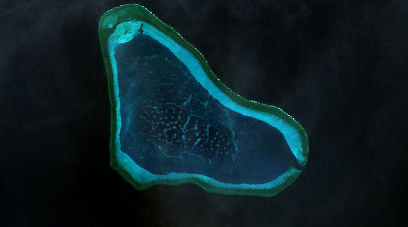 Scarborough Shoal prior to the Chinese-imposed destruction of the reefs. Photo Credit: NASA