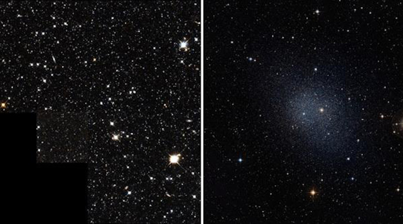 Image shows Draco (left) and Fornax. CREDIT For Draco image: Hubble Space Telescope; for Fornax image: ESO/Digitized Sky Survey 2.