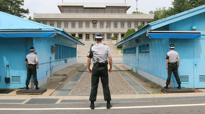 Republic of Korea army soldiers stand resolute at Joint Security Area where South and North Korean soldiers stand face-to-face across Korean Demilitarized Zone, Panmunjom, South Korea, June 19, 2018 (U.S. Army/Richard Colletta)