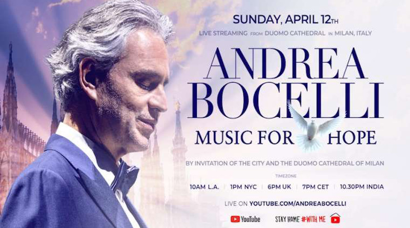 """Andrea Bocelli's """"Music for Hope"""" performance will take place Easter Sunday from Milan. Courtesy photo."""