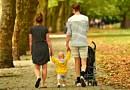 stroller Woman Man Child Couple Parent Family Three