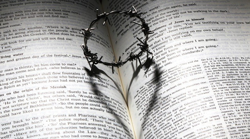 Cross Thorns Crown Heart Bible Shadow