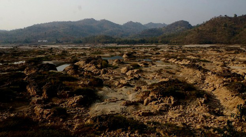 Mud and rocks form the dried-out middle of the Mekong River in Chiang Khong district in northern Thailand's Chiang Rai province, during a drought that ravaged communities in the Lower Mekong region, Feb. 14, 2020. Nontarat Phaicharoen/BenarNews