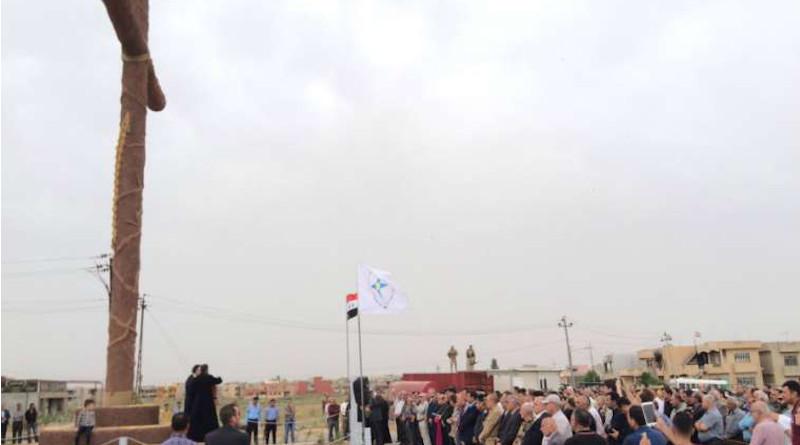 Syrian Catholic Archbishop Youhanna Boutros Moshe of Mosul blesses a newly-erected cross in Bakhdida, Iraq, May 2, 2017. Photo courtesy SOS Chrétiens d'Orient.