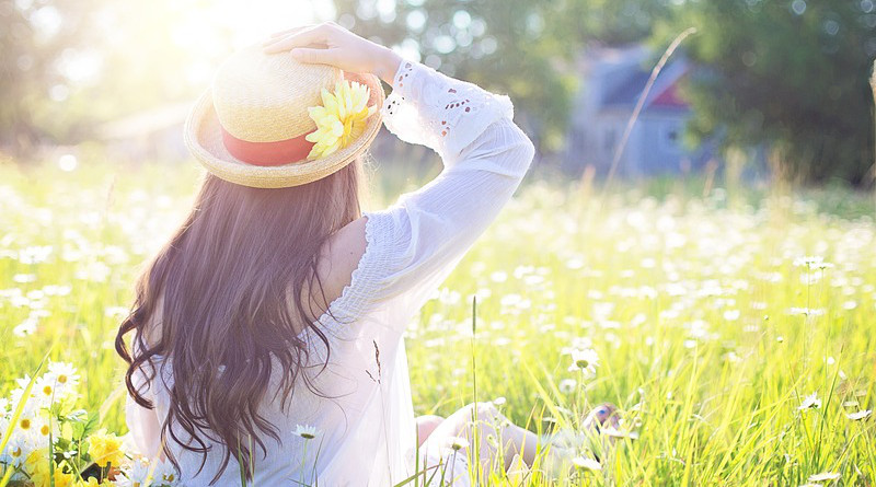 Flowers Meadow Field Pretty Woman Young Female Lifestyle Healthy Summer