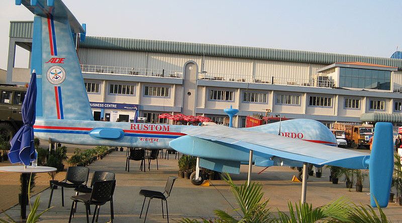 A model of India's DRDO Rustom-H HALE UAV (drone). Photo Credit: India Military