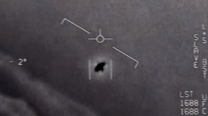 Screenshot of video of 'unidentified aerial phenomena' released by US Department of Defense.