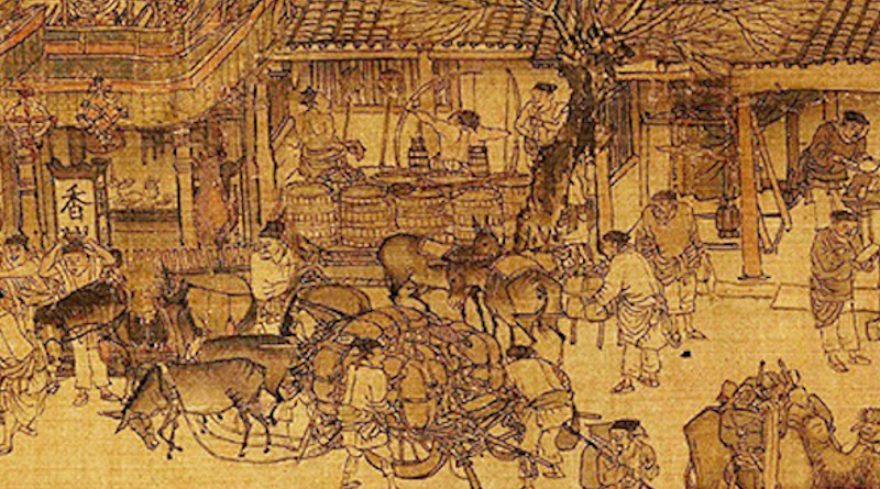 The Year 1000: A small portion of the Qingming Scroll from the Song Dynasty shows vibrant trade in a Chinese community.