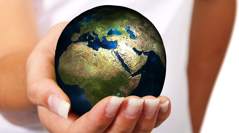 Woman Hand Earth Globe Europe Africa Asia Ball