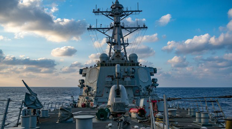 The USS Barry conducts operations in the South China Sea near the Paracel Islands, April 28, 2020. U.S. Navy handout photo by Samuel Hardgrove
