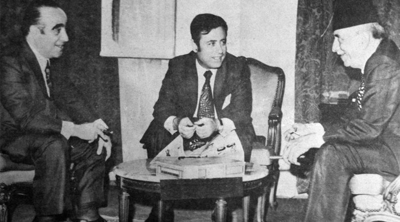 Foreign Minister Abdul Halim Khaddam with Lebanese Prime Minister Takiddine al-Sulh in 1975. Photo Credit: Wikimedia Commons