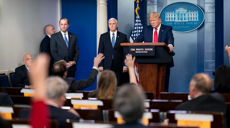President Donald J. Trump listens to a reporter's question during the coronavirus update briefing Friday, April 3, 2020, in the James S. Brady Press Briefing Room of the White House. (Official White House Photo by Andrea Hanks)