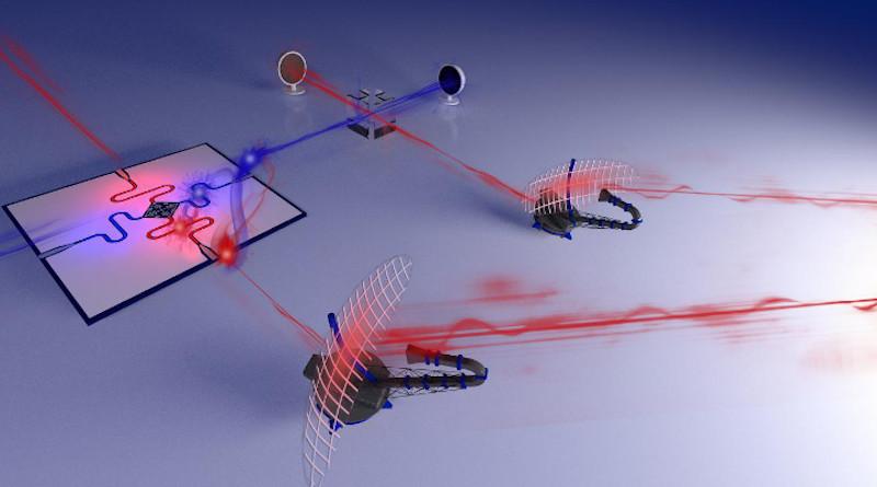 This is an illustration of a quantum radar prototype. CREDIT © IST Austria/Philip Krantz