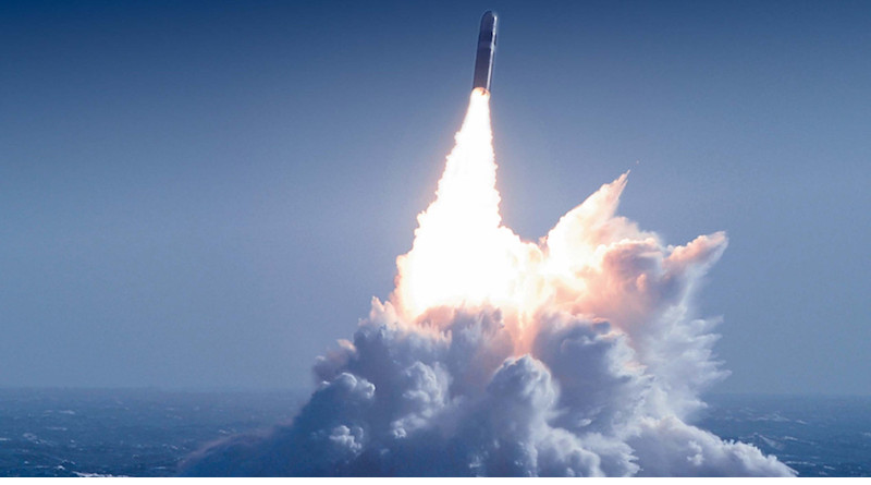 The W76 is delivered via the Trident II, D5 submarine-launched ballistic missile. This image shows the D5 being tested. Photo Credit: Los Alamos National Laboratory