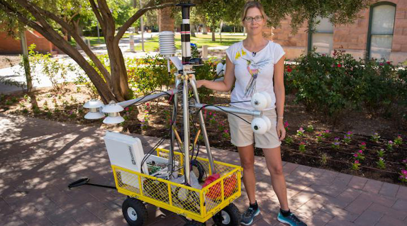 This is Ariane Middel with a MaRTy unit on ASU's Tempe campus. CREDIT: Photo by Ken Fagan/ASU Now