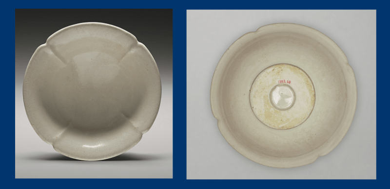Lobed dish from China, 9th century, front and back: Such pieces, widely traded throughout Asia, influenced Islamic ceramics (Yale University Art Gallery)