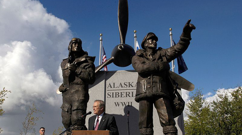 The Lend-Lease Memorial in Fairbanks, Alaska commemorates the shipment of U.S. aircraft to the Soviet Union along the Northwest Staging Route. Photo Credit: U.S. Air Force Staff Sgt. D. Myles Cullen, US Air Force