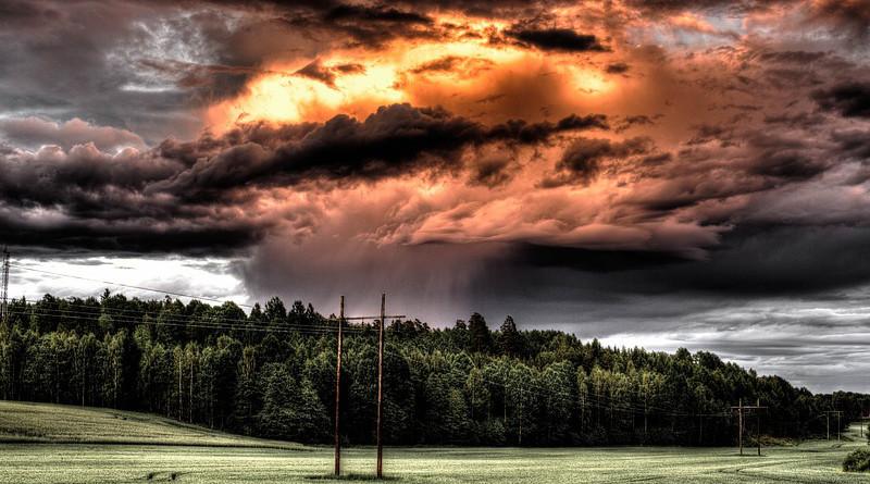 Field Cloud Countryside Hdr Rain Storm