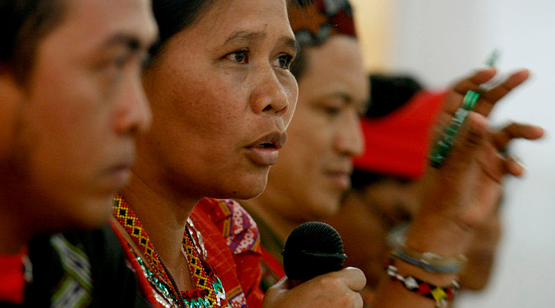 Norma Capuyan, vice chair of Apo Sandawa Lumadnong Panaghiusa sa Cotabato (ASLPC) speaking out in a press conference to defend the ancestral domains of the Lumad in the Philippines. Photo Credit: Keith Kristoffer Bacongco, Wikipedia Commons.