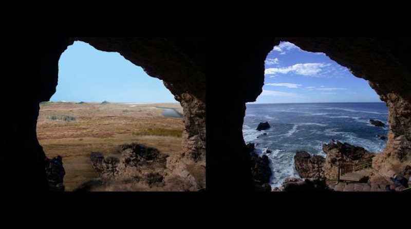 Looking out at the Palaeo-Agulhas Plain from the cave entrance at the Pinnacle Point, South Africa, research site--left, 200,000 years ago during glacial phases and lower sea levels, and right, today where the ocean is within yards of the cave entrances at high tides. CREDIT: Erich Fisher
