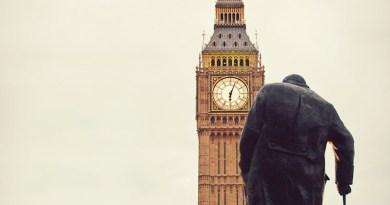 Man Elderly Cane Big Ben Westminster Churchill London Parliament