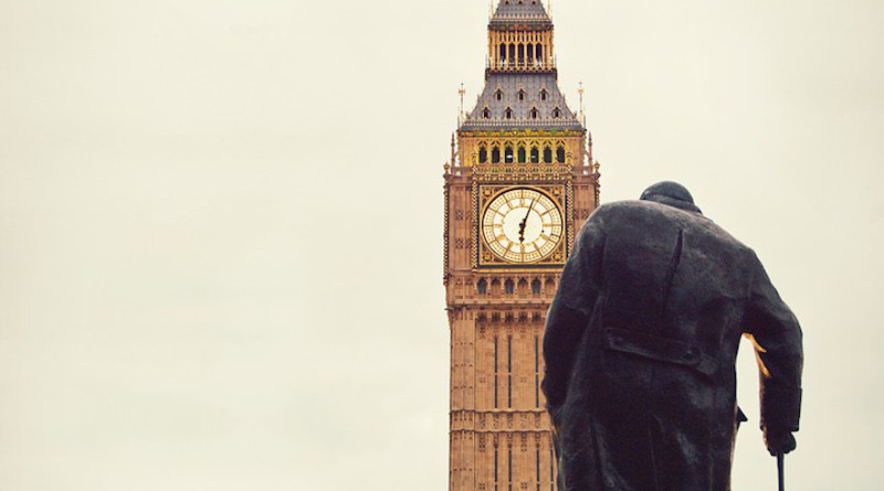 Man Elderly Cane Big Ben Westminster Churchill London Parliament