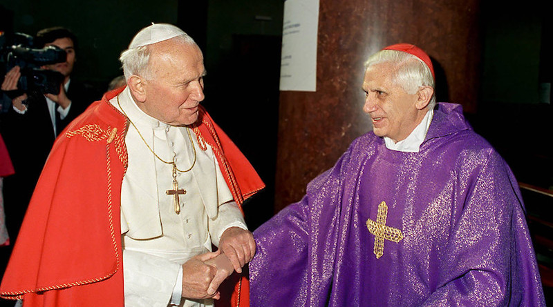 Pope John Paul II and Cardinal Joseph Ratzinger, who would become the future Benedict XVI. Photo Credit: Public Domain