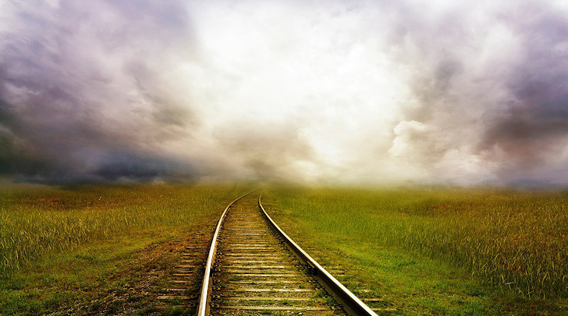 storm weather clouds Railroad Tracks Tracks Railway Train Landscape