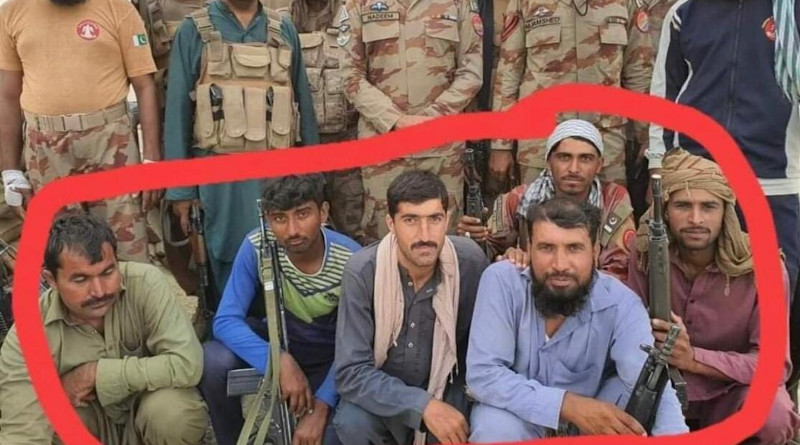 Maj Nadeem with members of his 'Death Squad' 