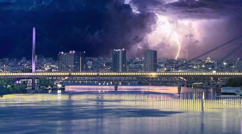 Serbia Storm Over Belgrade Serbia Belgrade Storm Lighting