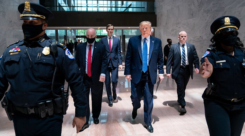 President Donald J. Trump arrives on Capitol Hill to attend a Senate Republican policy luncheon Tuesday, May 19, 2020, in Washington, D.C. (Official White House Photo by Tia Dufour)