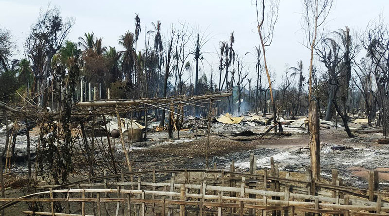 Blaze burns around 200 homes in Lekka village, Mrauk-U Township, Myanmar. Photo Credit: DMG