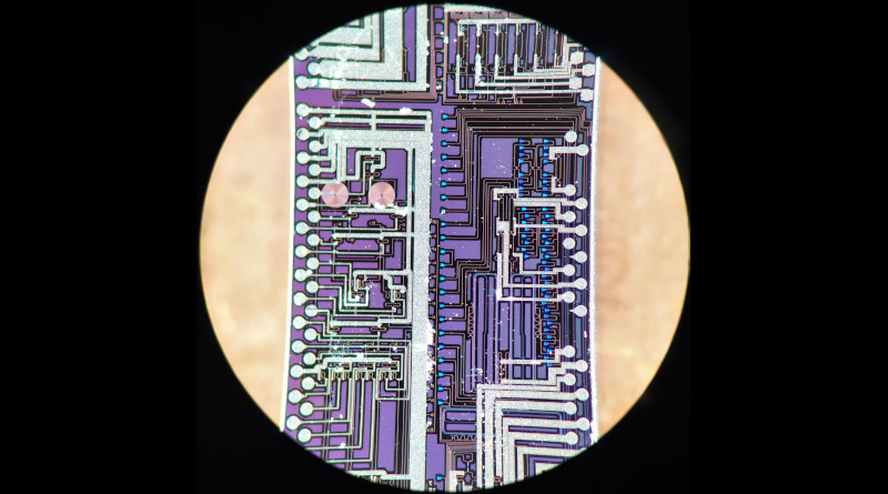 The silicon photonic chip used in this study to generate and interfere high-quality photons. CREDIT: S Paesani