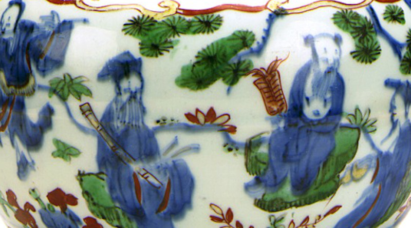 Detail of Wucai jar with the Eight Immortals, Ming, Wanli reign, 1573–1620. Credit: Los Angeles County Museum of Art, Wikipedia Commons