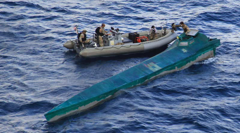 The guided-missile destroyer USS Pinckney, with an embarked U.S. Coast Guard law enforcement detachment team, conducts enhanced counternarcotics operations in the eastern Pacific Ocean, recovering an estimated 3,000 pounds of cocaine, May 14, 2020. The Pinckney is deployed to the U.S. Southern Command area of responsibility to support Joint Interagency Task Force South's mission, which includes countering illicit drug trafficking in the Caribbean Sea and the eastern Pacific. Photo Credit: Coast Guard