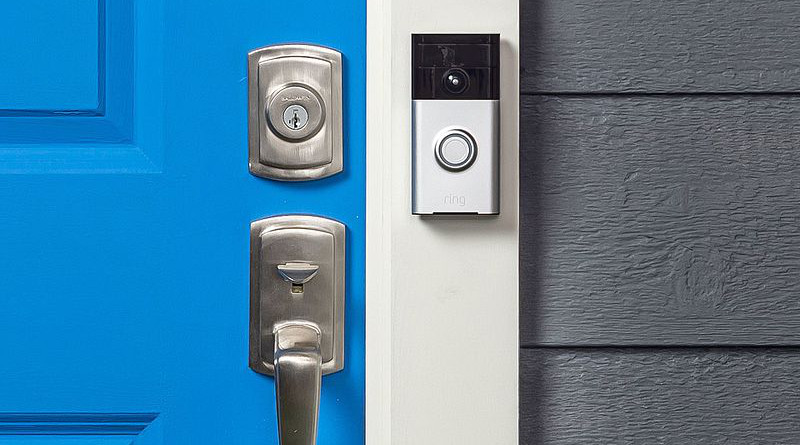 The first-generation Ring video doorbell attached next to the front door of a house. Photo Credit: Ring, Wikipedia Commons