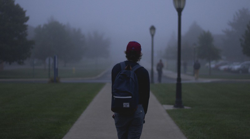 school parking lot Students Backpack Hat Young Guy Jeans Path Grass